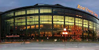 Outside the Xcel Energy Center at Night