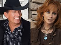 George Strait on the left and Reba McEntire on the right