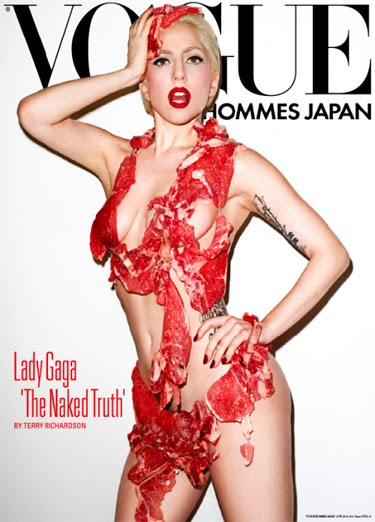 "Lady GaGa Covered In RAW MEAT For ""Vogue""!"
