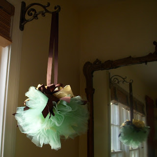 Hand Wired Pomander Ball Green Tulle and Ivory and Brown Ribbon