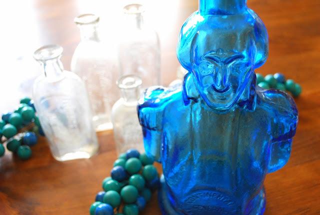 1970's bitters bottle :: Blue Glass George Washington Bust :: Blueberry Bog