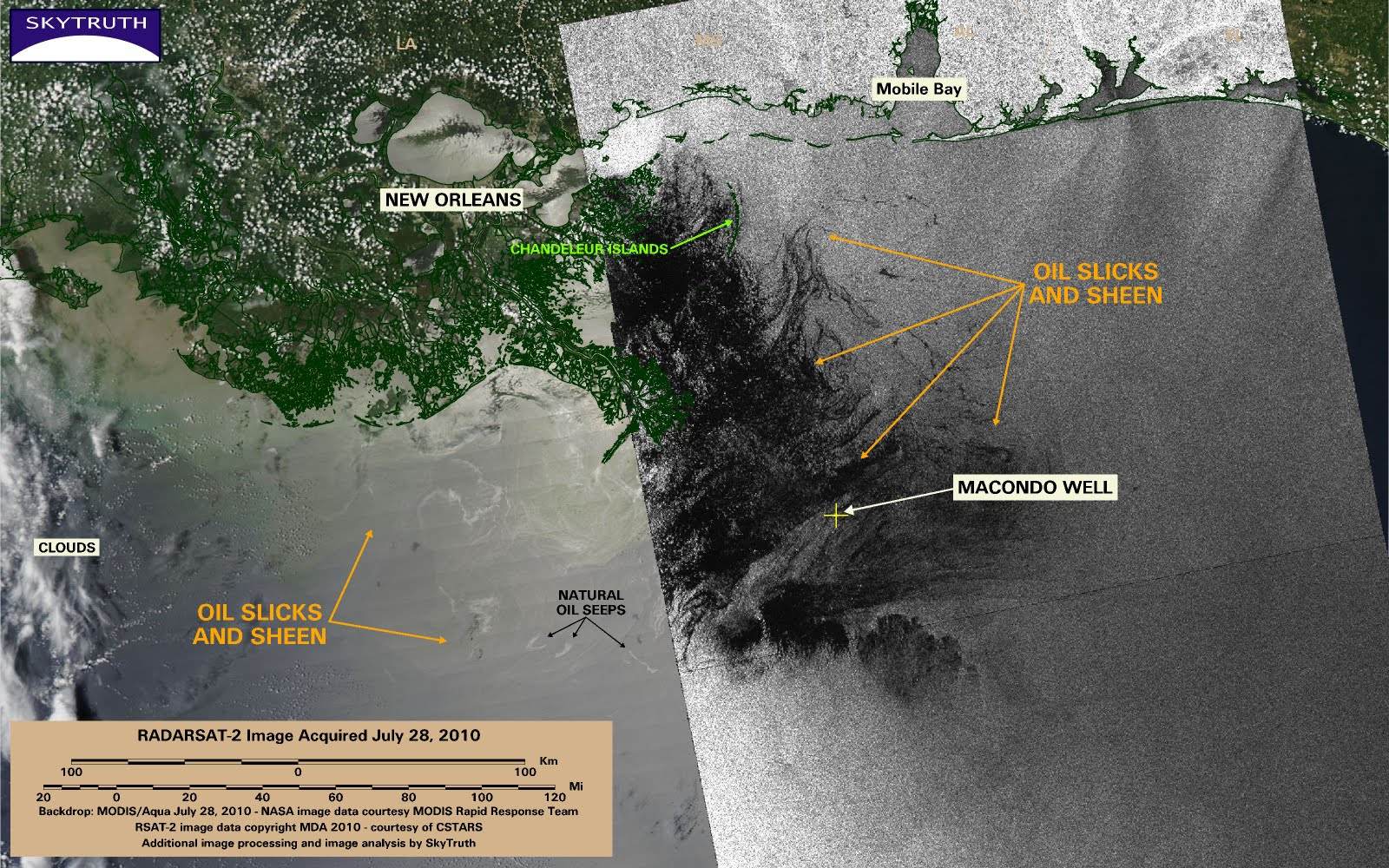 BP Gulf Oil Spill Satellite Image July 28th 2010 With Infrared Analysis
