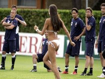 Streakers disrupted the training