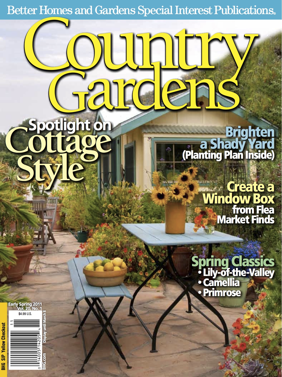 Sharon lovejoy country gardens magazine features our Spring cottage magazine