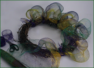 Finished Mardi Gras Wreath