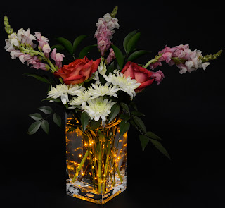 Gold Submersible Aqua Light Floral Centerpiece