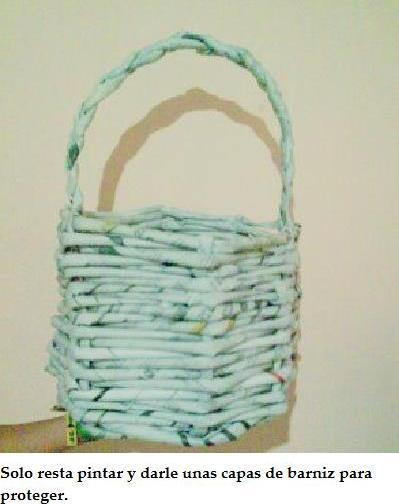 Cesteria en papel de diario reciclado