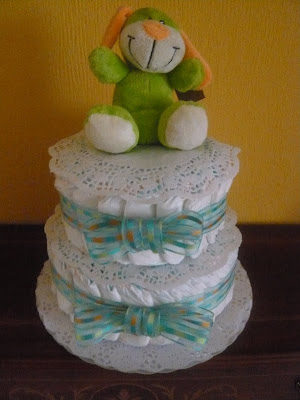Torta de pañales para babyshower