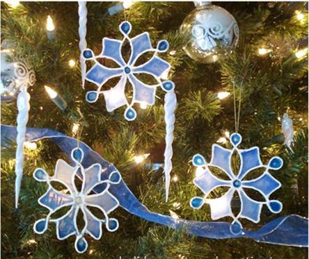 Adornos navideños copos de nieve en falso vitraux (sin vidrio ni acetato)