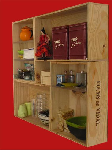 Recidecora estanter as con cajas de vino de madera recicladas Cajas de vino decoradas