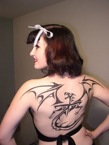 girl tattoo designs dragon