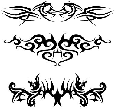 three art lower back tribal tattoo design. Lower Back Tattoo Designs