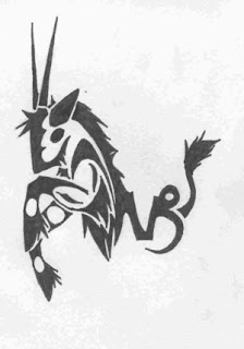 tatouage zodiaque capricorne tribal - tatouage capricorne tribal