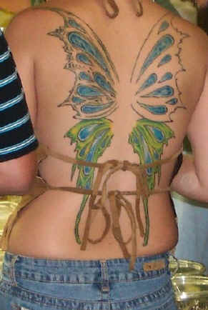 Full Color Lower Back Female Tattoo For Girl With Butterfly Tattoo Designs