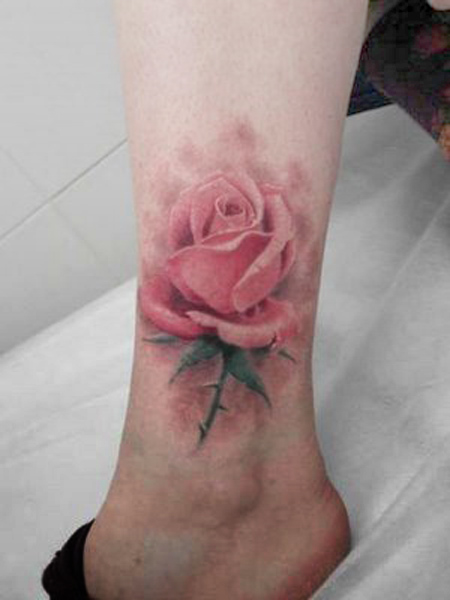 Legendary Tattoo Beautiful Flower Foot Tattoos Red Color For Girls