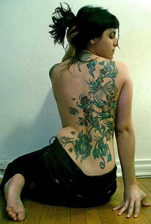 beautiful flower tattoo and vine designs picture