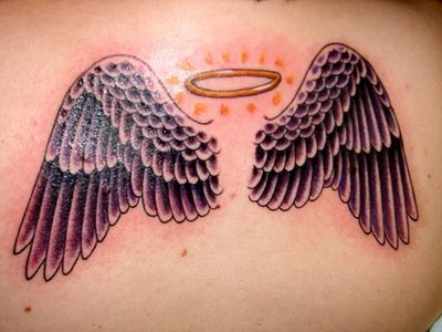 girls tattoos, Upper Back Tattoos small angel wing tattoos design