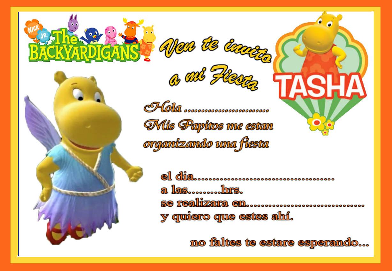 Tarjeta De Invitacion De Backyardigans Tasha