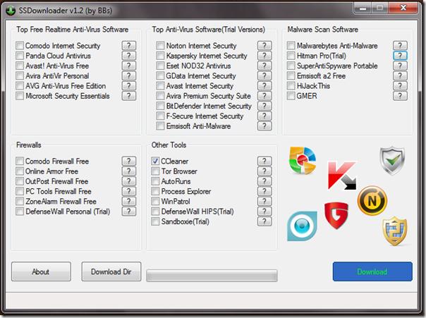 Tampilan grafis utama SSDownloader
