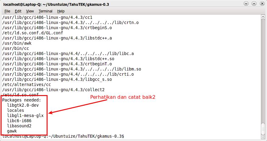 Output dari perintah dpkg-depcheck -d ./configure