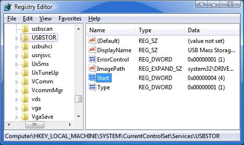 Mematikan USB melalui Registry