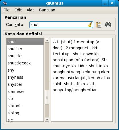 Tampilan grafis gKamus di Linux