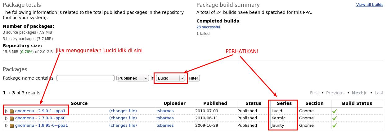 Detail dari aplikasi paket GnoMenu