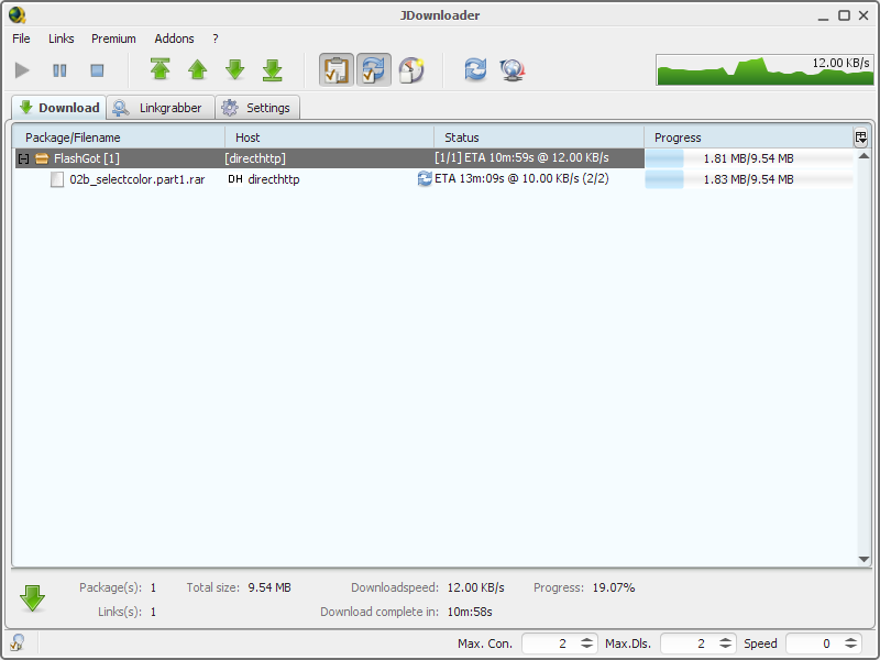 JDownloader mendownload file yang bersangkutan