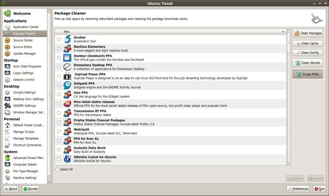 Ubuntu Tweak 0.5.5 dengan integrasi PPA Purge