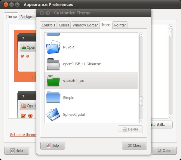 Tema ikon Sajadah Hijau di Ubuntu