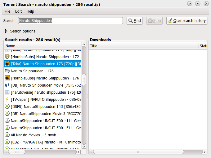 Torrent Search in action