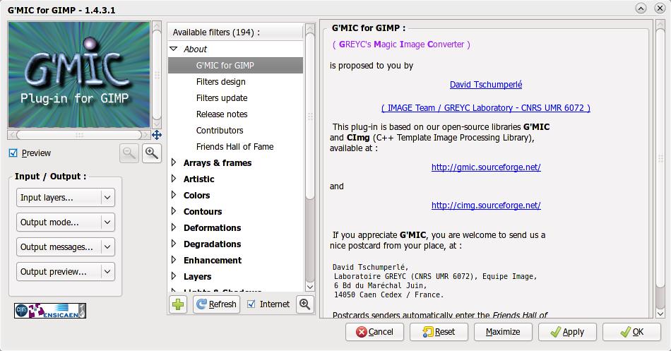 G'MIC: Kumpulan efek dan filter untuk The GIMP