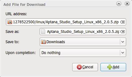 Klik Add untuk memulai proses download