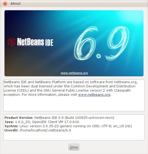 Halaman About Netbeans 6.9