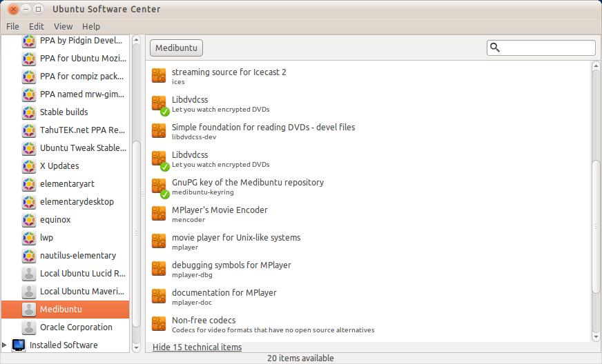Beberapa aplikasi di repository Medibuntu