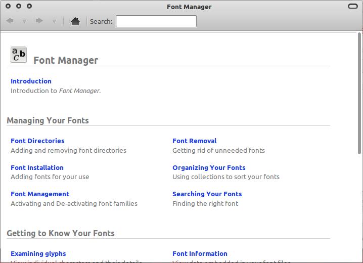 Menu bantuan di Font Manager