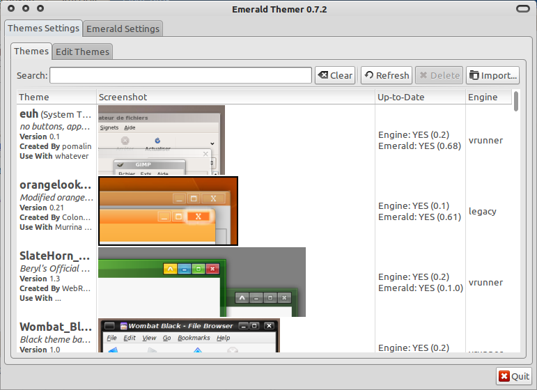 Emerald Theme Manager di Ubuntu 10.10
