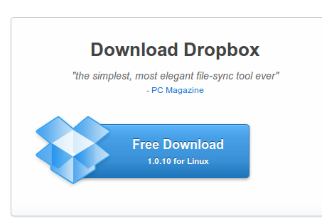 Halaman download aplikasi klien Dropbox