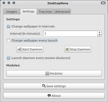 Tab settings dari DesktopNova