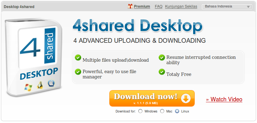 Halaman download 4Shared Desktop