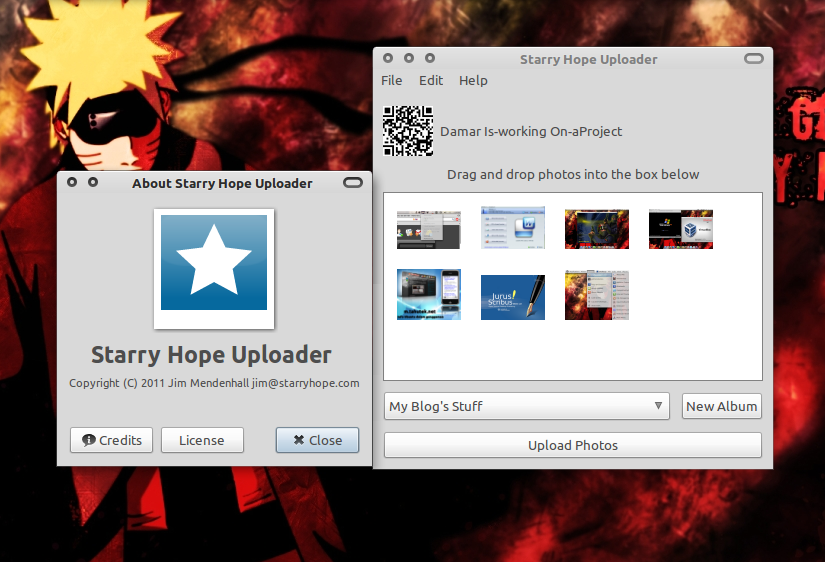 Starry Hope Uploader for Facebook di Ubuntu 10.10