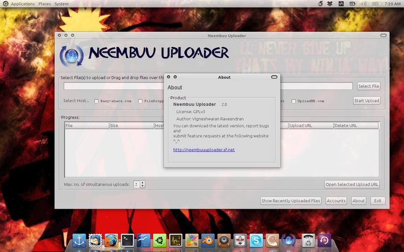 Nembuu Uploader di Ubuntu 10.10 Maverick Meerkat