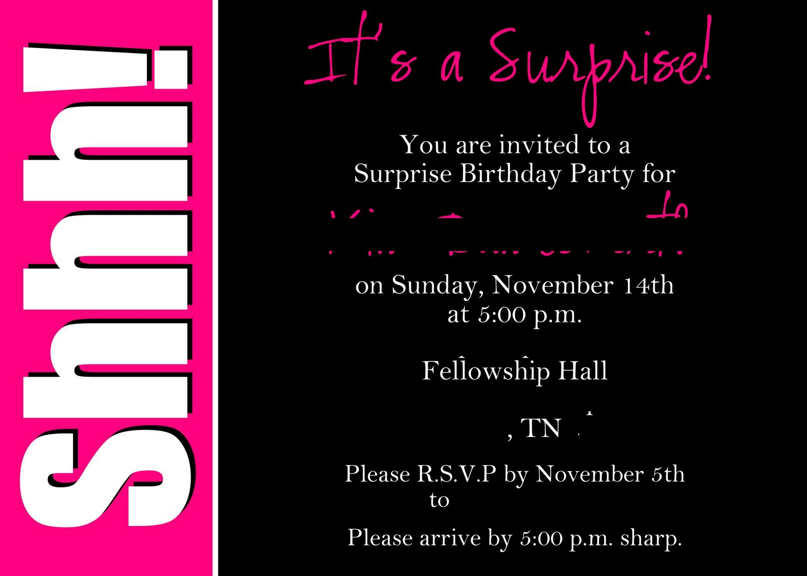 ... birthday party invitation for a party she is planning here it is