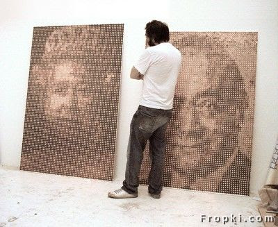 The artist behind  these portraits and other artwork like this is Adrian Firth. The two pieces are  called, Lizzie - pennies on mdf board 2008 and Made of Money - pennies on mdf  board 2007,Portraits Made of Pennies