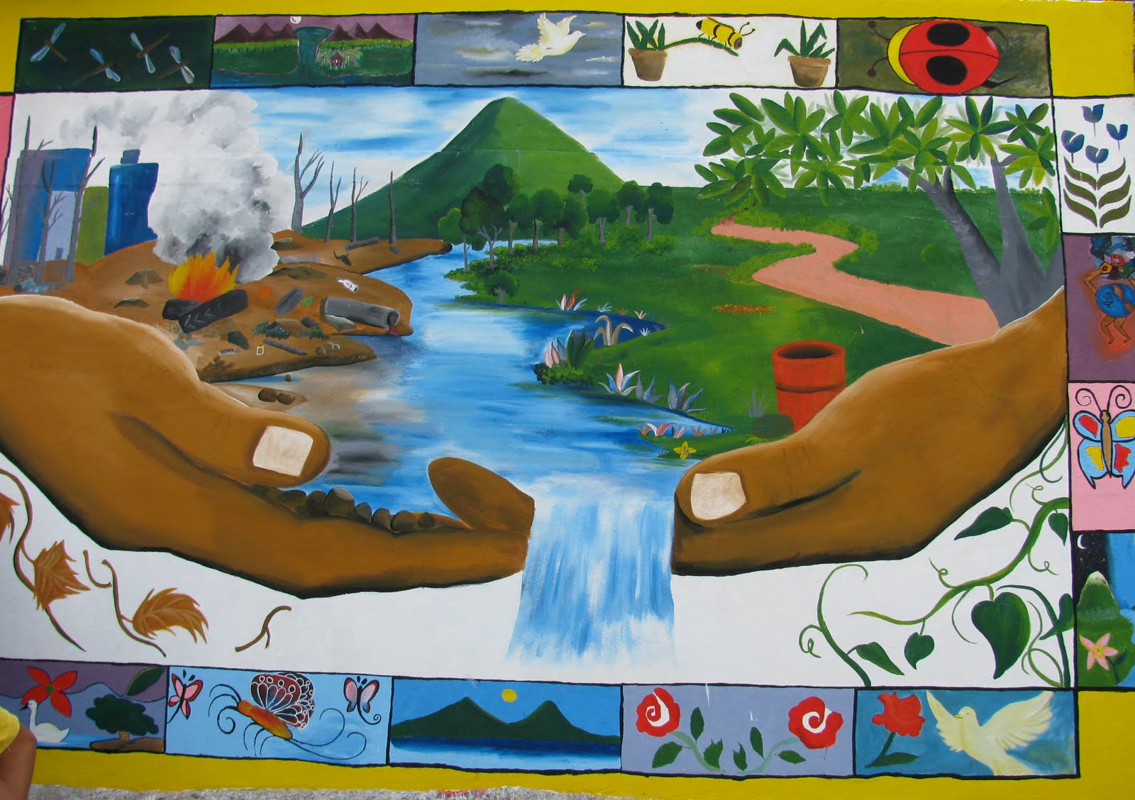 Cantera community center of ciudad sandino managua for Mural nicaraguense