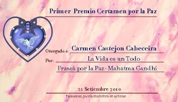 primer premio de poesía por la paz 2010 en la red Parnassus