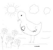 . esta viendo unas flores que nacen en el campo.La imagen del ave tiene un . dibujopajaro corazon flores