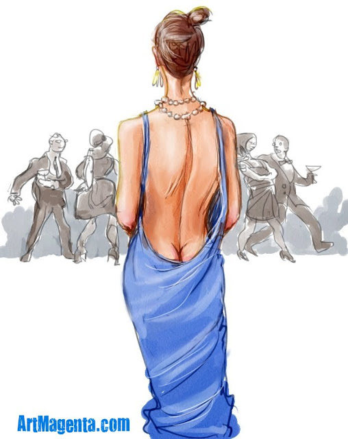 A  daring neckline is a sketch by Artmagenta