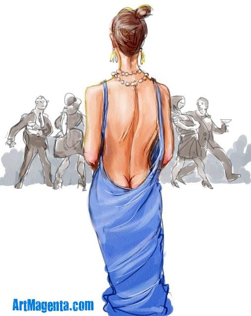 A  daring neckline is a sketch by Artmagenta