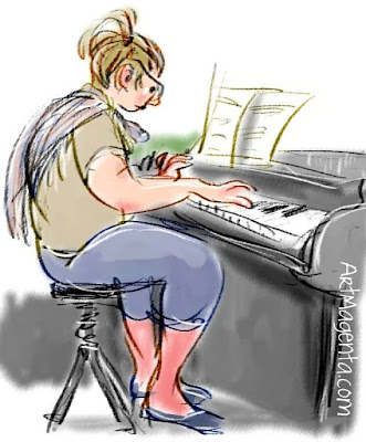 Playing the piano is a sketch by Artmagenta